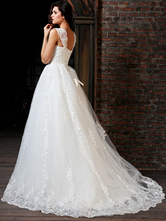 Brilliant Ball Gown Lace Straps Court Train Beading Wedding Dresses