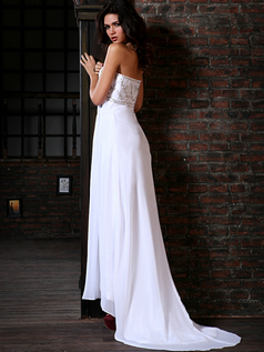 Astounding Column Chiffon Sweep Train Beading Wedding Dresses