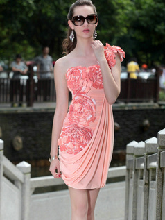 Appealing Sheath/Column One shoulder Short/Mini Flower Cocktail Dresses