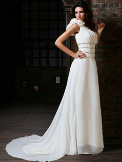 Perfect A-Line Chiffon One shoulder Court Train Beading Wedding Dresses