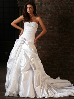 Elegant Princess Taffeta Strapless Flower Chapel Train Wedding Dresses