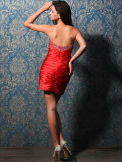 Sexy Sheath/Column Taffeta Short/Mini Tiered Cocktail Dresses