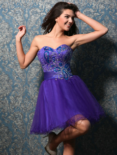 Appealing A-line Tulle Sweetheart Short/Mini Homecoming Dresses