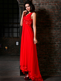 Gorgeous A-Line Chiffon V-neck Sweep/Brush Train Flower Prom/Evening Dresses