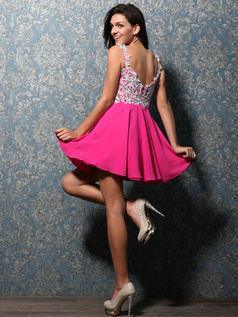 Glorious A-line Chiffon Short/Mini Appliques Homecoming Dresses