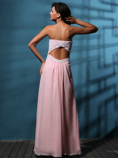 Glamorous Sheath/Column Chiffon Floor-length Appliques Prom/Evening Dresses