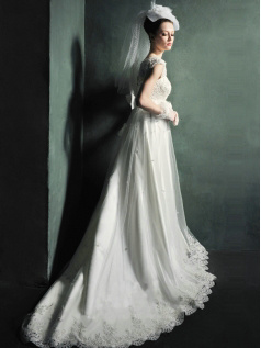 A-line Lace Straps Empire Chapel Train Beading Sequin Wedding Dresses