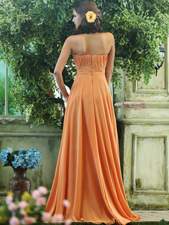 Pleated A-line Chiffon Strapless Floor-length Orange Sash with Crystals and Rhinestones Bridesmaid Dresses