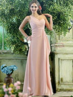 Simple Column Chiffon One shoulder Floor-length Draped Bridesmaid Dresses