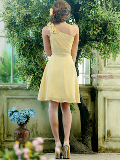 A-line Chiffon One shoulder with Flowers Knee-length Daffodil Sash Bridesmaid Dresses