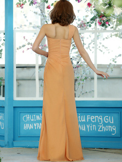 Column Chiffon One shoulder Floor-length Orange Draped Bridesmaid Dresses