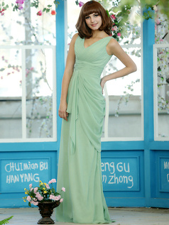 Ruched Sheath Chiffon Straps Floor-length Sage Draped Bridesmaid Dresses