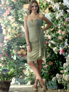 Ruched Sheath Chiffon Sweetheart Knee-length Draped Bridesmaid Dresses