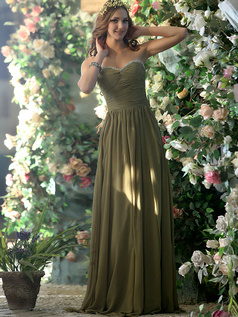 Modest A-line Chiffon Sweetheart with Crystals and Rhinestones Floor-length Green Bridesmaid Dresses Size 2 And Size 4