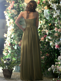 Modest A-line Chiffon Sweetheart with Crystals and Rhinestones Floor-length Green Bridesmaid Dresses
