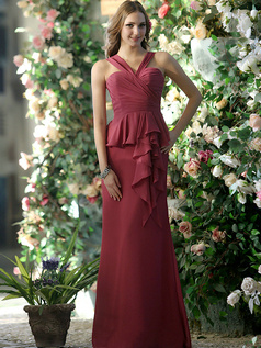New Style Sheath Chiffon Straps Ankle-length with Waist Skirt Bridesmaid Dresses Size 2 And Size 4