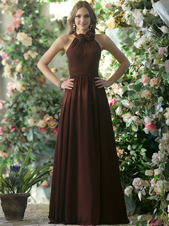 Pleated A-line Chiffon Halter with Flowers Floor-length Chocolate Bridesmaid Dresses Size 2 And Size 4