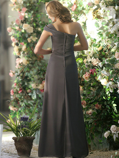 Modest A-line Chiffon One shoulder Ankle-length Draped Bridesmaid Dresses
