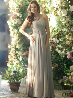 Baggy A-line Chiffon Sweetheart Floor-length Silver Draped Bridesmaid Dresses Size 2 And Size 4