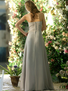 Baggy A-line Chiffon Sweetheart Floor-length Silver Draped Bridesmaid Dresses