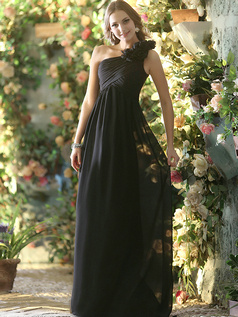 A-line Chiffon One shoulder with Flowers Floor-length Black Bridesmaid Dresses Size 2 And Size 4