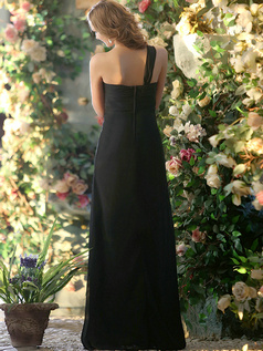 A-line Chiffon One shoulder Floor-length Black Draped Bridesmaid Dresses Size 2 And Size 4