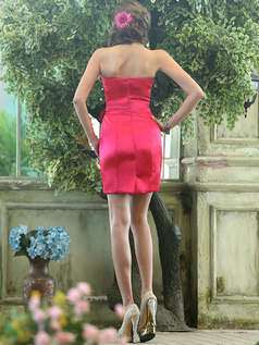Ruched Sheath Stretch Satin Sweetheart Short Flower Sash Red Bridesmaid Dresses