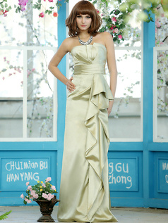 Modest Sheath Stretch Satin Strapless Floor-length Sage Sash Draped Bridesmaid Dresses