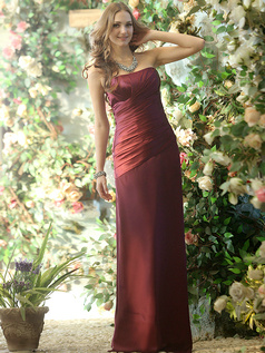 Modest Sheath Stretch Satin and Chiffon Strapless Floor-length Grape Draped Bridesmaid Dresses