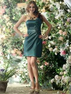 Smart Sheath Stretch Satin Asymmetrical Collar Short Dark Green Sash with Flower Bridesmaid Dresses Size 2 And Size 4