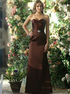 Dressy Sheath Stretch Satin Sweetheart Floor-length Chocolate Sash with Crystals and Rhinestones Bridesmaid Dresses