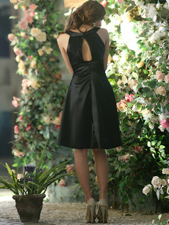 Open Back A-line Stretch Satin Round Brought Tea-length Black Draped Bridesmaid Dresses Size 2 And Size 4