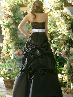 Formal Princess Stretch Satin Strapless Floor-length Black Pick-Ups Bridesmaid Dresses Size 2 And Size 4