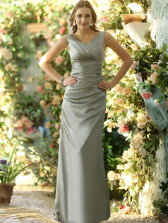 Sheath Stretch Satin V-neck Ankle-length Sashes Silver Bridesmaid Dresses Size 2 And Size 4