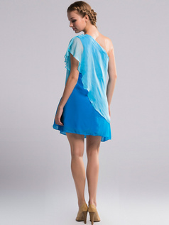 A-line One Shoulder Short Chiffon Blue Bridesmaid Dresses