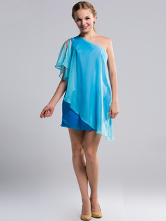 A-line One Shoulder Short Chiffon Ruffle Blue Bridesmaid Dresses