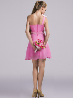 A-line One Shoulder Short Chiffon Pink Sashes Bridesmaid Dresses
