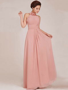 Column Halter Floor-length Chiffon Ruched Pink Bridesmaid Dresses