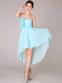 A-line Strapless High Low Asymmetrical Chiffon Flower Light Sky Blue Bridesmaid Dresses