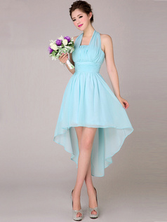 A-line Halter High Low Asymmetrical Chiffon Light Sky Blue Tiered Bridesmaid Dresses