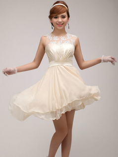 A-line Round Brought Short Asymmetrical Chiffon Champagne Embroidery Bridesmaid Dresses
