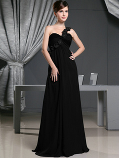 Beautiful A-line One shoulder Sweep Flower Black Bridesmaid Dresses