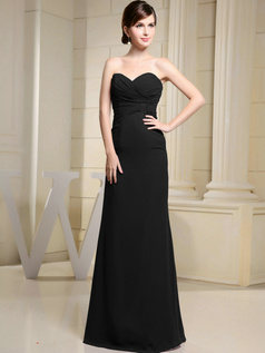 Glamorous Sheath/Column Chiffon Sweetheart Floor-length Black Evening Dresses