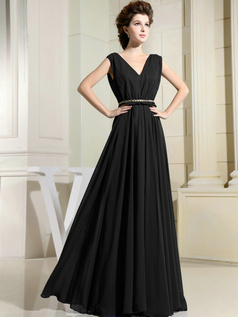 Stunning Sheath/Column V-neck Floor-length Draped Black Evening Dresses