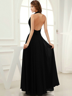 Impressive Sheath/Column Halter Floor-length Draped Black Evening Dresses