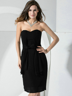 Lovely Sheath Chiffon Sweetheart Bowknot Black Cocktail Dresses