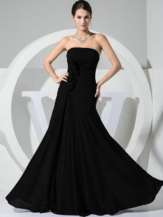 Gorgeous A-line Chiffon Tube Top Flower Black Bridesmaid Dresses