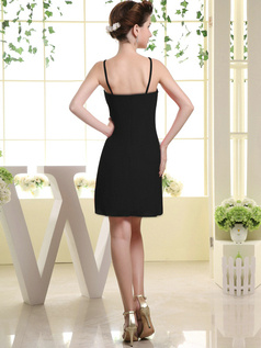 Happiness Promise Sheath Chiffon Tube Top Bowknot Black Bridesmaid Dresses
