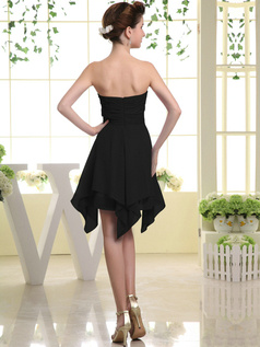 Pure Color Classic A-line Chiffon Sweetheart Bowknot Black Bridesmaid Dresses