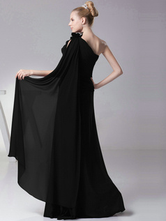 Phenomenal Sheath/Column One shoulder Floor-length Flower Black Bridesmaid Dresses